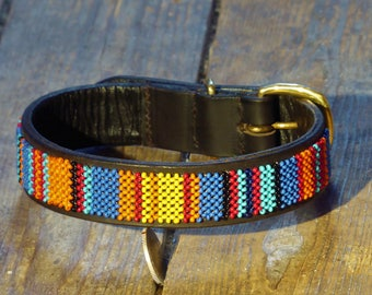 African Sunset Beaded Dog collar (Size: S)