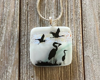 Dichroic Fused Glass Pendant, Heron, Fused glass, Heron Pendant, Silver Plated Adjustable Chain Included - 30