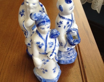 Asian Oriental Trio Blue & White Figurines