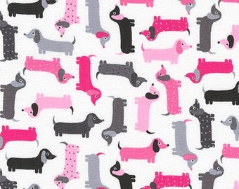 Mini Pink Weenie Dogs from Robert Kaufman's Urban Zoologie Mini Collection by Ann Kelle