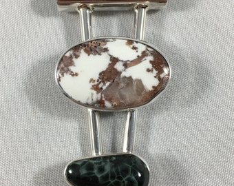 Isle Royale Green Stone and White Datolite with Copper. Double Pendant