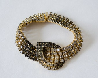 1950s vintage bracelet / rhinestone cuff bracelet