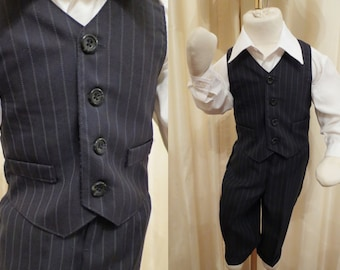 Vintage Two Piece Boys Formal Dark Navy Pinstripe Suit Pants and Vest