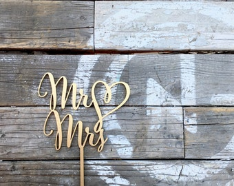 """Mr Heart Mrs Wedding Cake Topper 6"""" inches, Mr Love Mrs Topper Script Unique Laser Cut Cake Topper by Ngo Creations"""