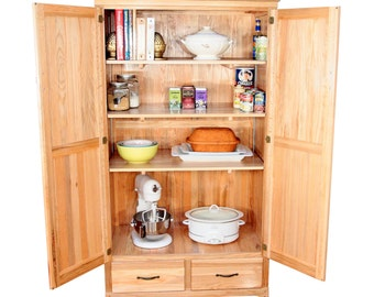 Solid Oak Cabinet - Hardwood Pantry Cabinet - Massive Storage