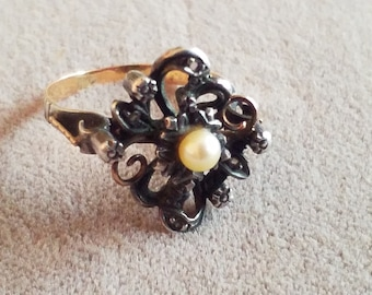 Antique French Hallmarked Gold Pearl Diamond Ring 6