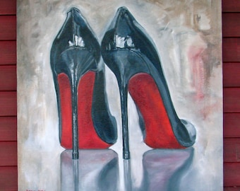 """Original Oil painting on fine jute """"NAILS"""" 30"""" by 32"""" luscious High Heels part of the SHOE Series! FREE shipping!"""