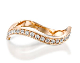 Diamond rose gold ring, Wedding band rose gold, Rose gold diamond band, Rose gold band, Rose gold stack band, Rose gold wedding ring, 14k