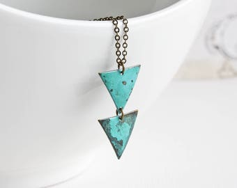 Blue Triangle Necklace on Antiqued Brass Chain, Aqua Blue Pendant Necklace, Hand Patina Jewelry