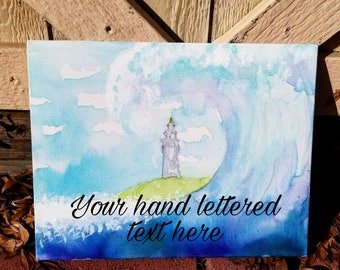 """11""""x14"""" Whimsical Ocean Wave Watercolor Hand Painted Canvas Panel *Read description for full details*"""