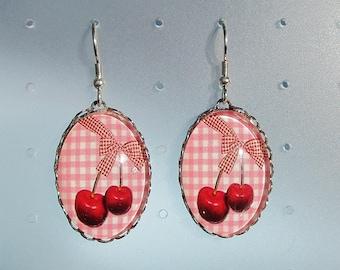 beautiful cherry earrings (925 Silver hook)