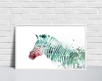 Zebra Art Print, Zebra Digital, Zebra Printable, Turquoise Zebra, Zebra Wall Decor, DIY Wall Decor, Zebra Illustration, Large Printable
