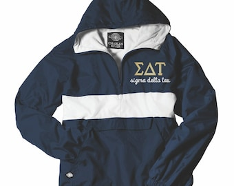 Sigma Delta Tau, SDT, Sigma Delta Tau Anorak, Anorak Jacket, SDT Rain Jacket, Sigma Delta Tau Apparel, Sorority Jacket, Greek, Windbreaker