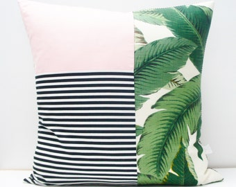 Pillow Cover - Patchwork Pillow Cover, 20x20, black and white stripes, green palms, palm leaves, palm print, palm springs, pink
