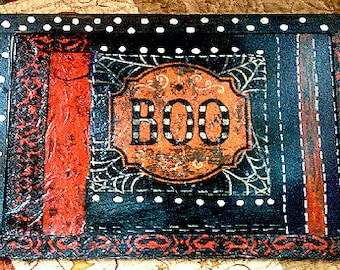 Mixed Media Halloween,  painting on chalkboard, Halloween, Boo, orange and black, polk dots, aged and sealed well.