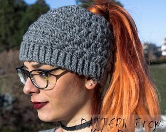 Messy bun hat- ponytail hat/beanie crochet pattern - star stitch hat pattern