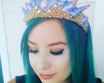 Purple/pink ombre mermaid crown