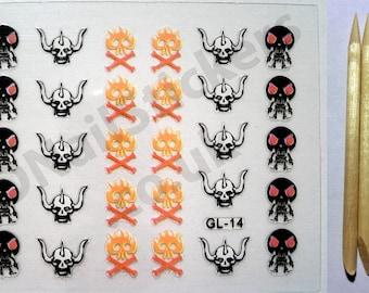 GL-14 Halloween Fire Horns Skulls Cross Bones 3D Nail Art Stickers + FREE 5x wood cuticle sticks