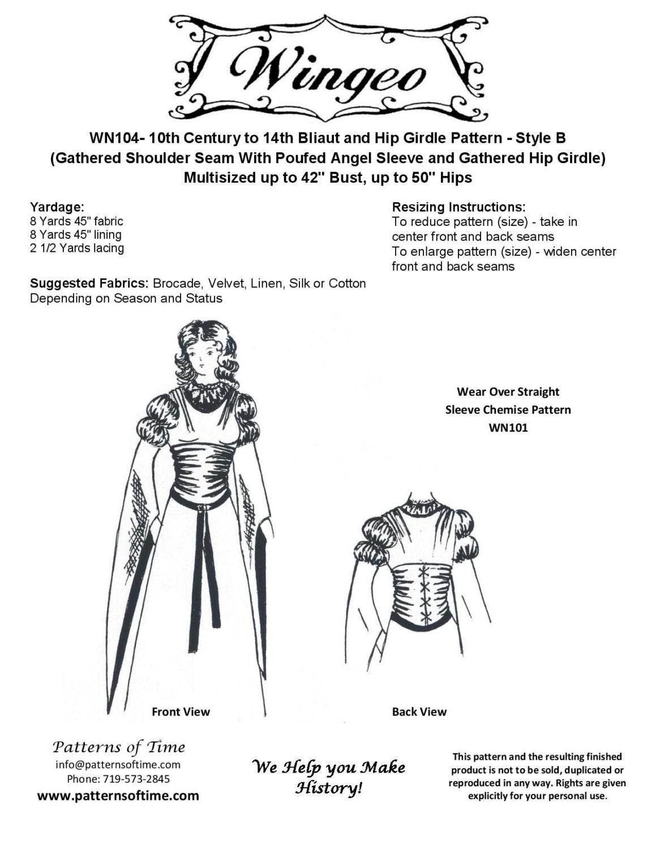 WN104 Bliaut und Hip-Gürtel-Schnittmuster von Wingeo