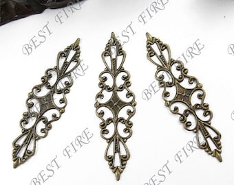 10 pcs 16x57mm Antiqued bronze  brass filigree sheets,jewelry findings,filigree findings,connector filigree findings
