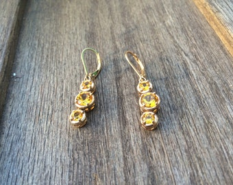 Vintage Gold Plated Sterling Silver and Genuine Topaz Dangle Earrings