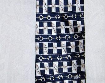 S.T. DUPONT Paris vintage silk tie/ S.T. Dupont necktie/ Men's accessories/ Blue and white tie