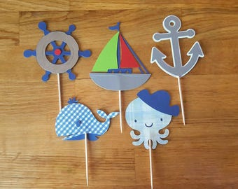 Nautical Theme Cupcake Toppers, Nautical Theme Baby Shower, Boat Whale Octopus Anchor, Nautical Theme Birthday Cupcake Topper