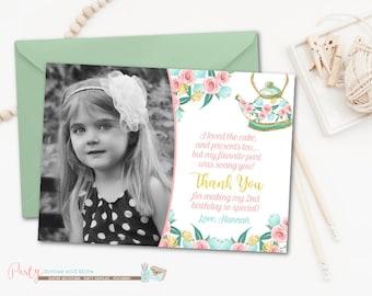 Tea Party Thank You Card, Tea Party Thank You, Tea Party Birthday Thank You Card,  Tea Party, Tea Party Birthday, Thank You Card