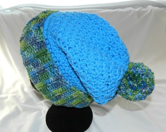 Crocheted Light Blue and Green Slouchy Beanie Hat with Pom