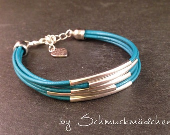 Leather Bracelet silver turquoise