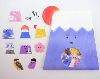 Mt. Fuji sticker flakes - Japanese stickers - kawaii stickers - Mount Fuji - sakura flower - cherry blossom - red-crowned crane bird, temple