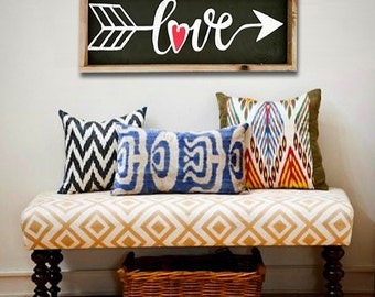 THE LOVE COLLECTION * Wood Framed Chalkboard Sign with Hand Painted 'Love' and Arrow