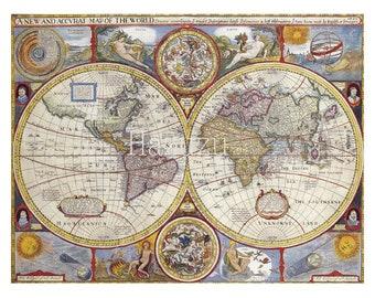 Antique World Map PNG ephemera clip art vintage background old instant download mixed media collage journal scrapbooking