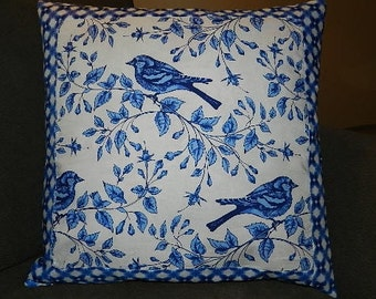 1 Available -Micheal Miller  Birds on a Vine Quilted  Pillow Cover 16 inches x 16 inches
