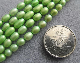 Soft Olive Green Rice Shape Baroque Pearls 6MM-9MM Pearls Nugget Pearls Potato Shape Pearls Soft Green Pearls Full Strand Freshwater Pearls