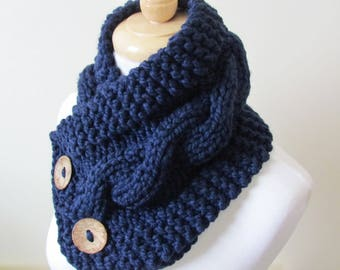 "Chunky Cable Neckwarmer Knit Thick Navy Blue Scarf Wool Blend 6"" x 25"" Coconut Shell Buttons - Ready to Ship - Gift for Her"