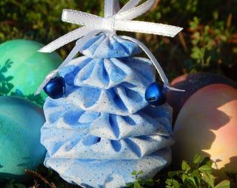 Blue Glitter Yo Yo Egg Ornament