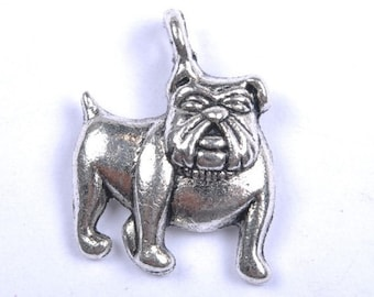 30 BULLDOG Charms Dog Pet Themed Jewelry Antique Siver Tone Bulk Jewelry Craft Supplies 17x17 mm