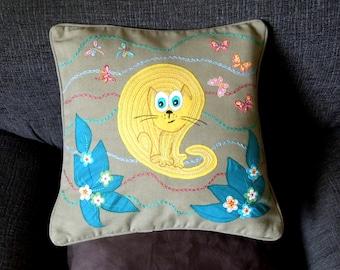 "Cat cushion, pillow cover ""Funny Cat"", handmade, humorous, appliqued, pet, animal"
