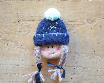 """Woolen brooch """"chilly small Navy Blue Hat and Pompom sky"""""""