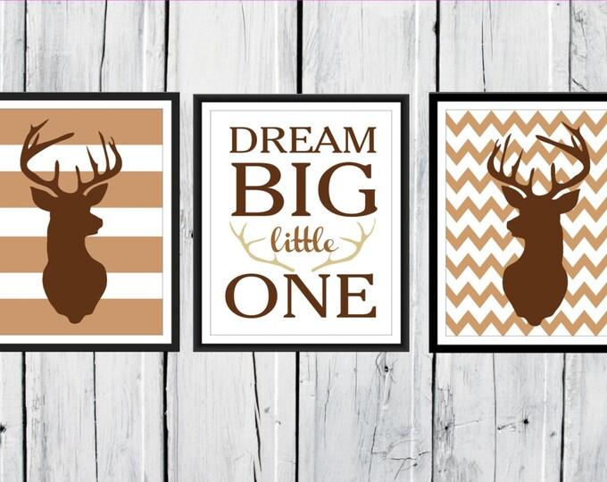 Nursery Decor - Deer Antlers - Dream Big Little One - Antler Print  Nursery Decor - Chevron Background - Custom Colors