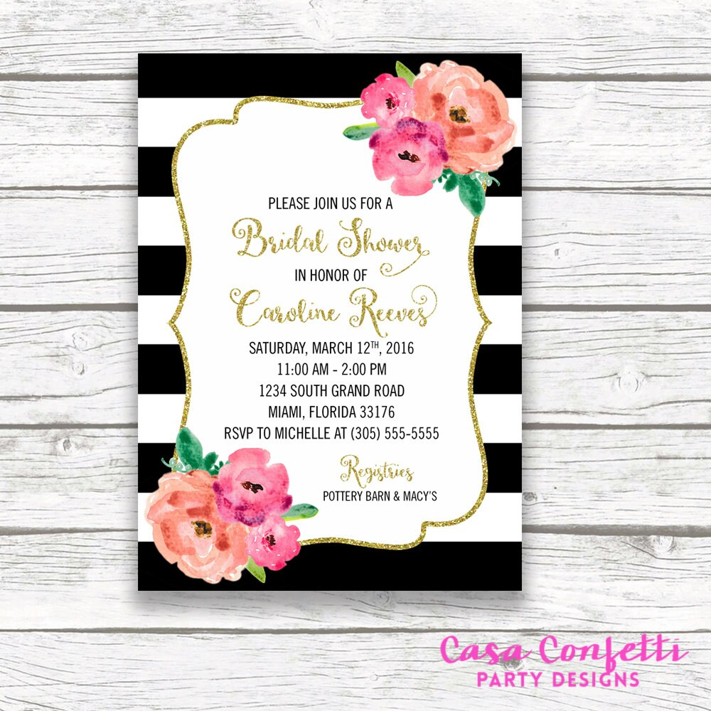 Bridal Shower Invitation Floral Black White Stripe Bridal Shower
