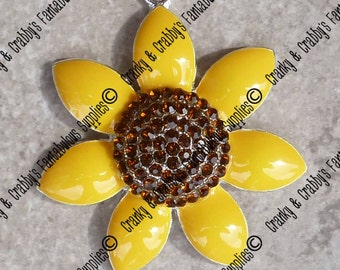 Original Design Yellow Sunflower Rhinestone Pendant - 49mm x 45mm- Colored enamel on silver metal with rhinestones Gardening