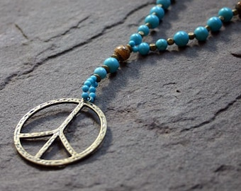 Peace Sign Rosary Turquoise Necklace Mala Yoga Inspired