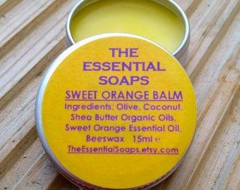 Organic Orange Balm/ Lip Balm/ Foot Balm / Hand and Elbow Balm/ Gift for Her/ Gift for Him