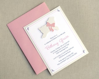 Lamb of God Invitations · A2 LAYERED · Pink and White Shimmer · Infant Christening | Baptism | Newborn Dedication | First Holy Communion