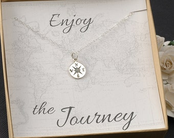 Compass Necklace -Travel - Going away gift - Graduation - New Job -  Silver or Gold Compass Charm