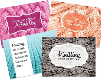 Knitting Gift Note Cards - 8 cards and Envelopes