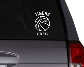 Basketball vinyl decal/Personalized decal/basketball team/car decal/sports/personalize
