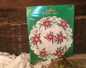 Vintage Royal Lace Doilies/Paper/Pack of 8/10 Inch/Christmas/Poinsettia